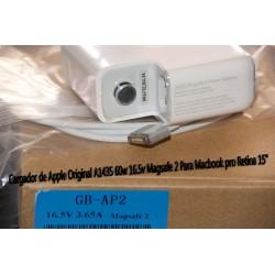 """Cargador de Apple Original A1435 60w 16.5v Magsafe 2 Para Macbook pro Retina 15"""""""